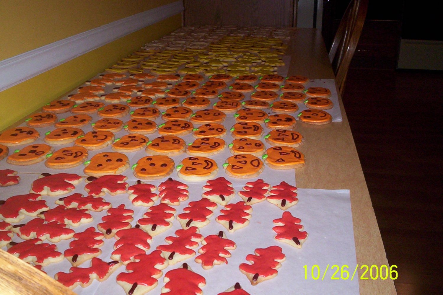 Cookie Factory Yet another table of drying cookies.