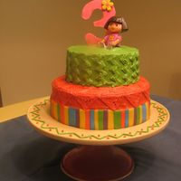 Dora The Explorer orange-chocolate marble cake with buttercream icing & fondant accents