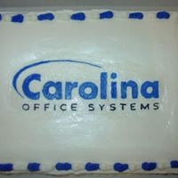 Carolina Office Systems Cake  This is a cake I made for my husband's office party. They wanted it very simple with just their logo on it. Yellow cake with...