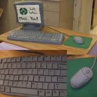 Computer Cake A computer cake for a going away party. They keyboard is all cake covered in fondant, and the keys are fondant I let dry and then hand...