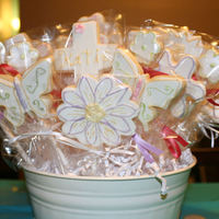 Communion Cookies Cookie bouquet for my niece's communion. All the detailed were piped in white and then hand painted with petal dust.