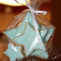 Blue Star Cookie Favors Sugar cookies with royal icing dipped in sugar crystals. I made these for my niece to take to school for her birthday. They were super...