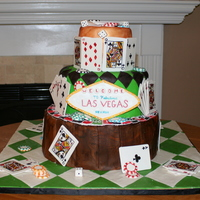 Vegas Themed Cake I made this cake for a friend who is moving to Las Vegas. Everything on the cake is edible. I hand painted (on dry fondant pieces) 52...