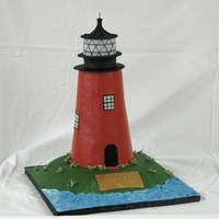 "Lighthouse This was carved from 5 6"" cakes and the land is carved from a 10"" cake. Thanks for looking."