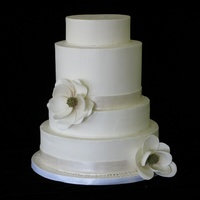 Magnolia buttercream finish with gumpaste flowers.