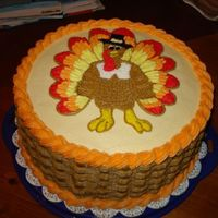 Turkey Cake All buttercream..my first basketweave!
