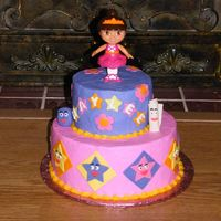Dora   6 & 10 in rounds B/c frosting with fondant accents