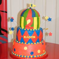 Carnival  6, 8, & 10 in rounds made to go with a carnival theme birthday party. Had a lot of fun making this cake. B/c frosting with fondant...
