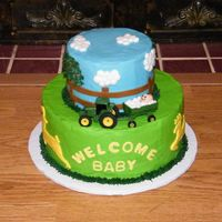John Deere Baby Shower   Thanks to all the inspiration here on CC. 6 & 10 in rounds iced in b/c with fondant accents and a toy tractor