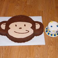 Mod Monkey   1st birthday cake. Mod Monkey made to match party supplies. Monkey is all b/c and the smash cake is b/c with fondant circles