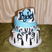 Zebra & Baby Blue Baby Shower   6, 8 & 10 in whimsical cut. Iced in b/c with fondant accents