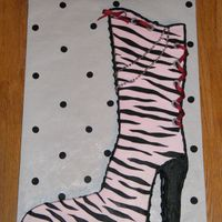Zebra Boot  I made this cake to match a plaque the birthday girl had on her wall. Cake is covered in b/c with fondant stripes and accents. Shoe lace is...