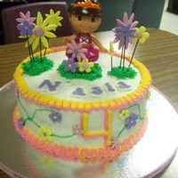 Dora The Explorer I made this cake for my niece's 4th birthday she is a dora freak. It is the Durable Cake Receipe iced in BC with fondant flowers. This...
