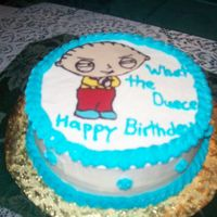 Stewie  This is the last of the three cakes I did in two days (big birthday weekend) WASC with achocolate Transfer Stewie had fun with this also...