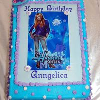 Hannah Montana This was my first edible image cake. It was for my bosse's 9 year old daughter. WASC with strawberry filling and Sugarchack's BC...