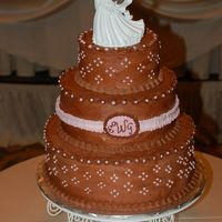 Chocolate & Pink Wedding Cake