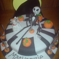 Jack Skellington And Zero My nightmare Before Christmas cake. Figures made from sugarpaste