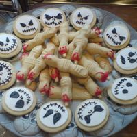 Halloween Biscuits I made witches fingers and jack Skellington heads this year instead of giving out sweets!