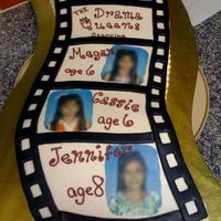 Birthday Film Strip  Carved cake in shape of film strip, surface is wavy also just can't see. Used edible images of the 3 girls, was given free rein to...
