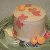 Fall Cake chocolate cake with a raspberry and vanilla bc filling, covered in bc and decorated with mmf