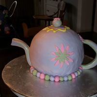 Teapot Cake strawberry cake with vanilla bc covered in MMF