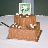 Dog Photo Groom's Cake This was a simple tiered cake with a chocolate plaque on top with an edible photo of the groom's dog. The dog bones were molded...