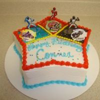 Power Ranger Birthday Cake Double layer star with Decopac's Power Ranger kit on top. Color on the corners was airbrushed, sides were combed, really quick and...