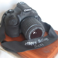 Canon Camera Carved cake camera; RKT lens, on small sheet cake, all covered in fondant..tfl!