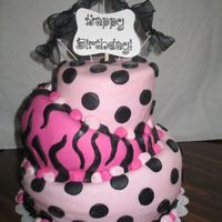 Topsy Turvy Polka Dots And Zebra My very first topsy turvy cake! It's not perfect but I'm happy for my first try. Cakes are vanilla. Bottom layer filled with...