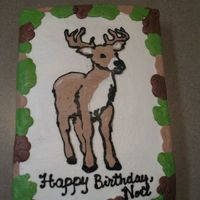 Deer Fbct FBCT Deer on 9x13 Cake iced in buttercream.