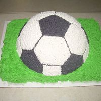 Kakes_By_Kelli_022.jpg This is a 3D soccer ball cake sitting on a 1/4sheet cake.