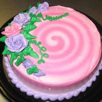 Pink Swirls airbrushed design with piped whipped cream roses