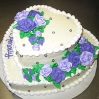 Purple Cake edible pearls in silver..roses in shades of purple