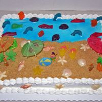 Beach Cake  This was another beach cake ordered by the same person that ordered the last one from me.I am having fun with these! I get to use my...