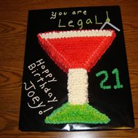 "Happy 21St Birthday Joey! I made this ""Drink"" for a nice young man I work with. I carved the drink out of a sheet cake. It is a white cake with various..."