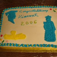 Vincent's Graduation This is a French Vanilla sheetcake iced in buttercream. I used cookie cutter indentations for the head, full graduate & diploma, then...