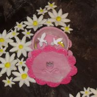 Anthony's Shower Part Ii This is what the lid of the Keepsake Box looked like. I painted clear vanilla on the ends of flower petal & dipped them in sanding...