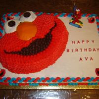 Happy Birthday Ava The Elmo portion was a triple chocolate cake, while the sheet cake was a yellow cake. Both cakes were iced in buttercream. I used the star...