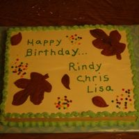 Happy Birthday Rindy, Chris & Lisa This is a French Vanilla Cake filled with strawberries & heavy whipping cream for my co-workers' October birthdays. The leaves are...