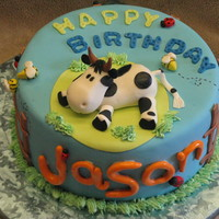 Cow Cake For Jason This is made from inspiration from a cake done by mylan last week. I fell in love with the cake, and it happened to go with my son's...
