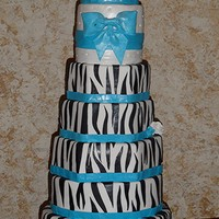 Zebra Striped Wedding Cake 7 tiers. I will never do this tall of a cake again, I set it up looked beautiful and then the top tilted a little, but bride was thrilled...