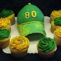 Donald Driver -Packers Cap For my son~ he wanted a Donald Driver cake.....so he got a baseball cap with Drivers # on it! 6 in cake with a small ball pan on top...