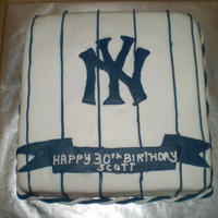 "Yankees Birthday Cake   Vanilla 10"" square. Fondant NY and stripes. I used a clay extruder for the stripes and the rope border."