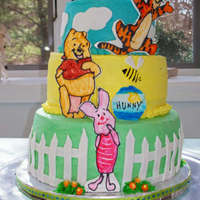 "Winnie The Pooh Baby Shower Cake  Winnie the pooh cake. Buttercream with fondant, buttercream & gumpaste accents. The characters were made with gumpaste and ""..."