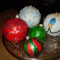 Christmas Ornaments Bake and fill pans used for small balls. Covered in fondant,