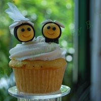 Bride And Groom Cupcake Bride and Groom cupcake - BC icing Bumble bee's were made of gumpaste.I surprised the bride with this cupcake as the topper of her...