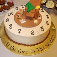 "Retirement Cake Cake I made for my BIL. BC icing on vanilla cake. Living room scene and clock numbers all done with gumpaste. His nickname is ""..."