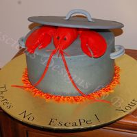 Lobster Bake Cake Lobster Bake Cake I made for my sister. She LOVES lobster. Lobster, lid, and handles made of gumpaste. BC icing on chocolate cake and BC...