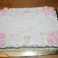 Best Of Luck! Marble cake with Buttercream icing. All decorations are BC too. thanks to Jenncowin for her inspration.