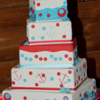 "Daughters Wedding Cake  Red, white and aqua were our theme colors. He is in the Navy so we went with an overall ""Navy-ish"" theme... White fondant icing,..."